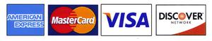 American Express, Master Card, VISA, Discover